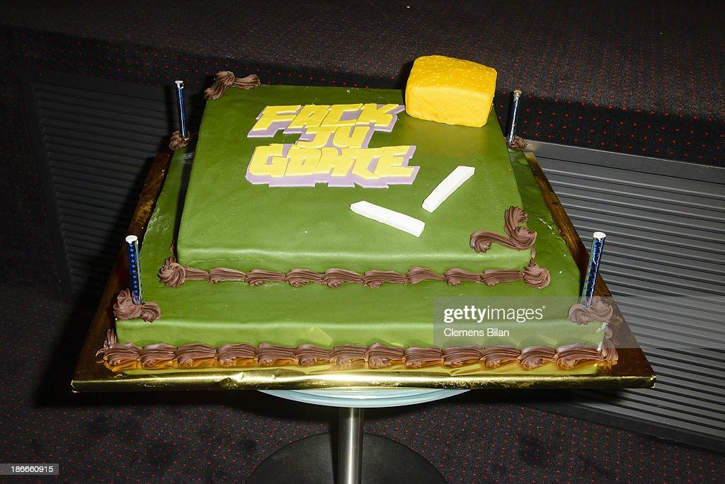 A cake at the 'Fack Ju Gohte' Berlin Premiere at CineStar on November 2, 2013 in Berlin, Germany.