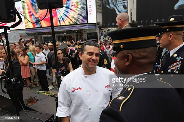 'Cake Boss' reality show baker Buddy Valastro thanks soldiers after attending a ceremony in Times Square marking the US Army's 237th anniversary on...