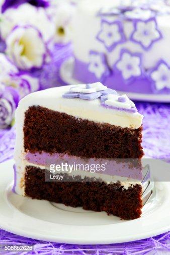 Cake brownie with berry cream. : Stock Photo
