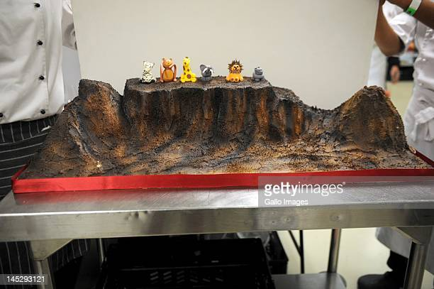 A cake decorated to represent Table Mountain by Buddy Valastro star of the television programme 'The Cake Boss' during the Good Food and Wine show on...