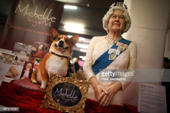 A cake depicting Queen Elizabeth II and a corgi dog made by cake and sugar artist Muchelle Wibowo is shown at the Experimental Food Society...