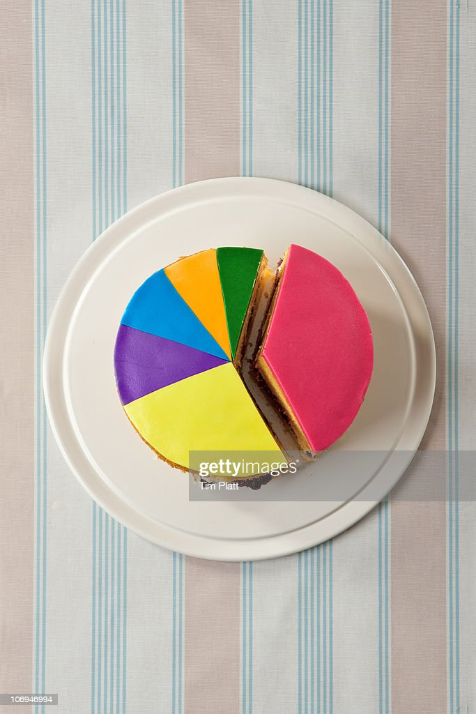 A cake designed as a pie chart. : Stock Photo