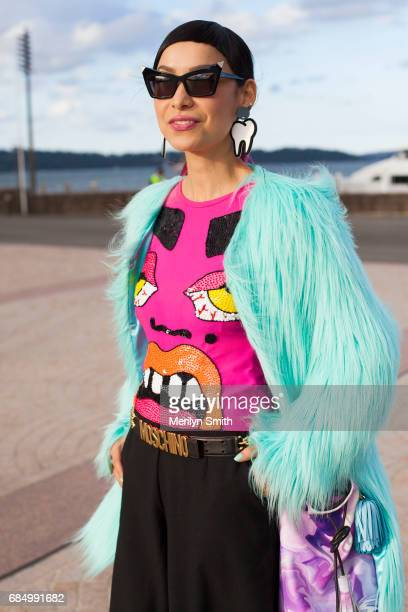 Cake Designer Katherine Sabbath wearing an Unreal fur jacket Doodad and Fandango accessories Discount Universe top Moschino belt and a Marisa Mu bag...