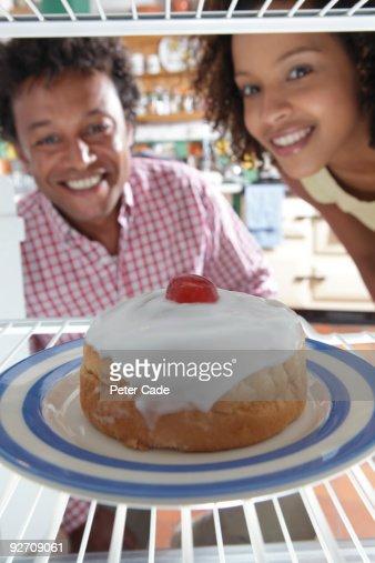 cake in fridge : Stock Photo