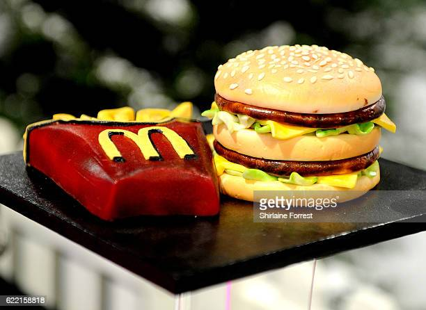 A cake in the shape of a Big Mac and fries on display at The Cake and Bake Show at Event City on November 10 2016 in Manchester England