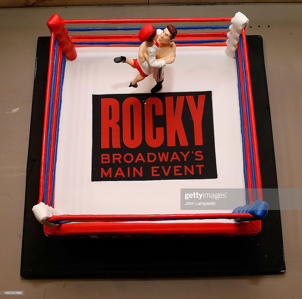 cake is displayed before the celebration of rocky 100 performances on picture id450252990
