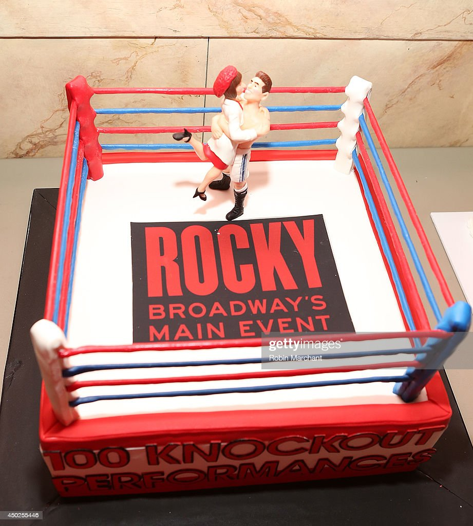 cake is displayed before the celebration of rocky 100 performances picture id450255446