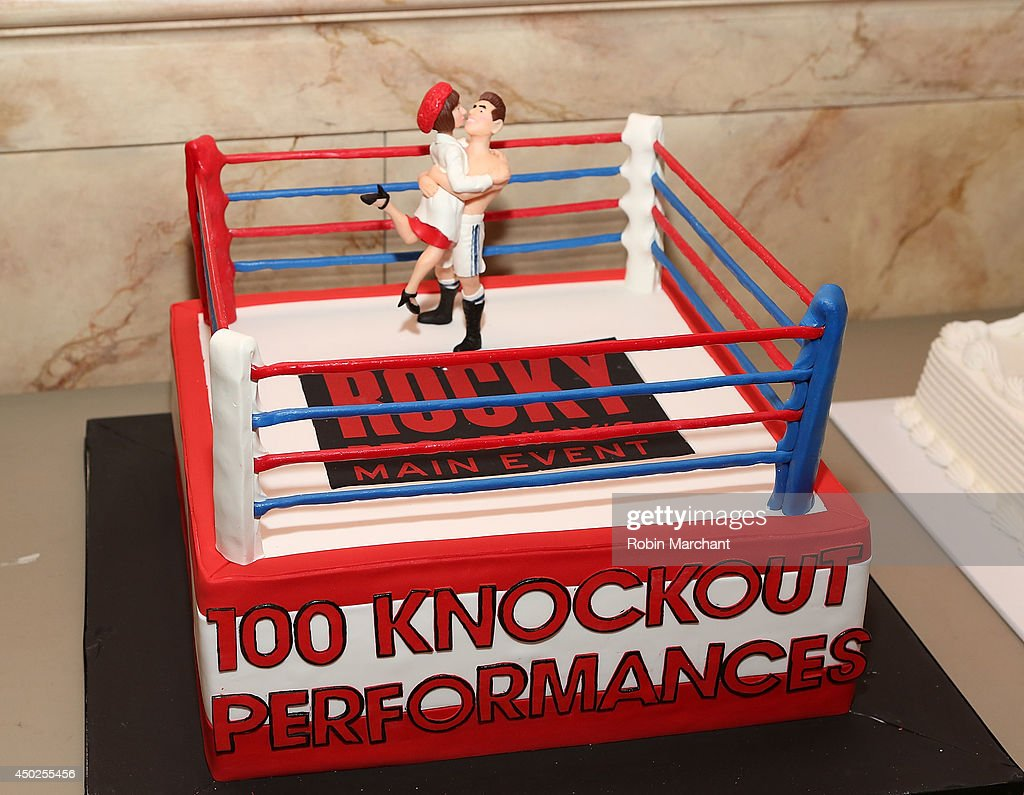 cake is displayed before the celebration of rocky 100 performances picture id450255456