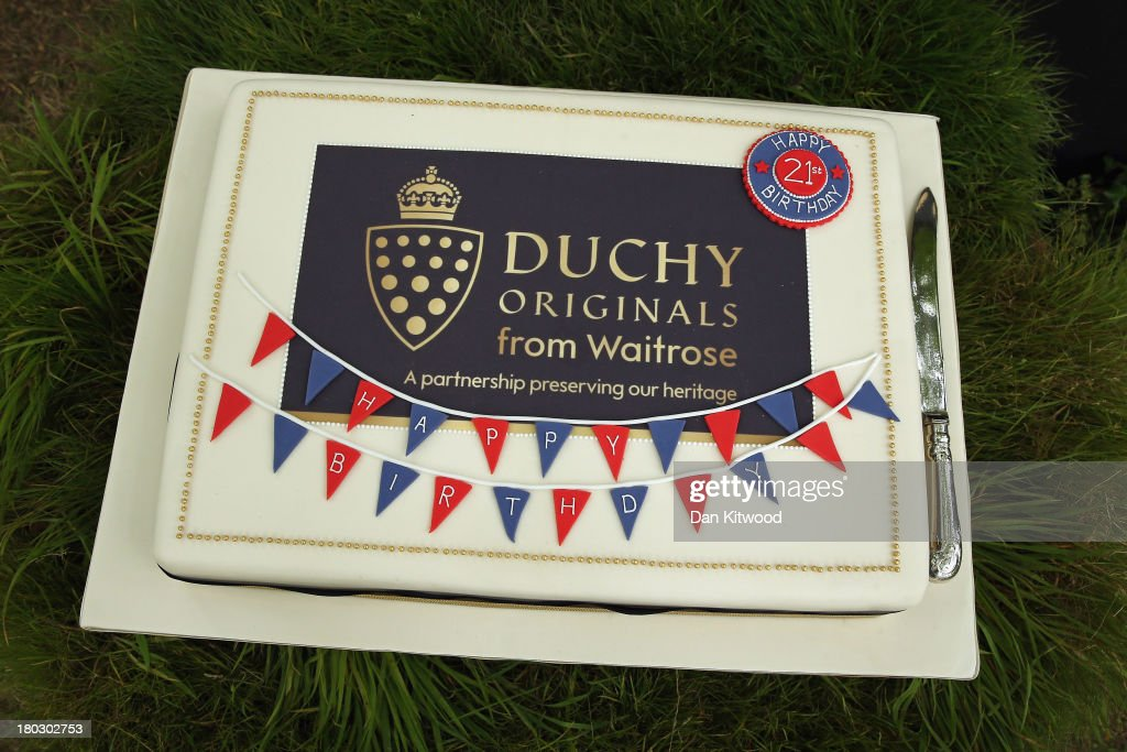 A cake is displayed during a reception to celebrate the 21st anniversary of Duchy originals products at Clarence House on September 11, 2013 in London, England. The reception was held in the gardens of Clarence House, and attended by Duchy suppliers, Waitrose and other international stockists, customers, charitable beneficiaries and representatives of some of the charities who benefit from the sale of the products.