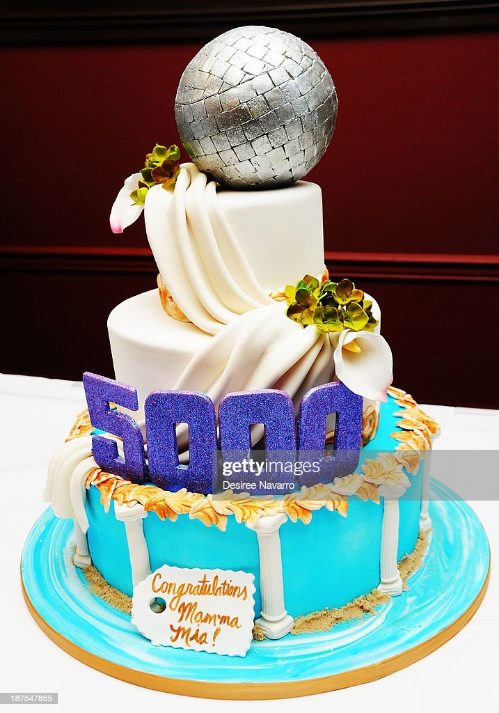 Cake made by TV personality/Cake decorator Frankie Amato at the 5,000 performance celebration of 'Mamma Mia!' on Broadway at Sardi's on November 9, 2013 in New York City.