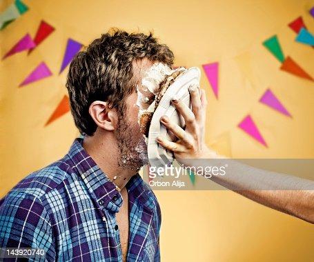 cake on face : Stock Photo