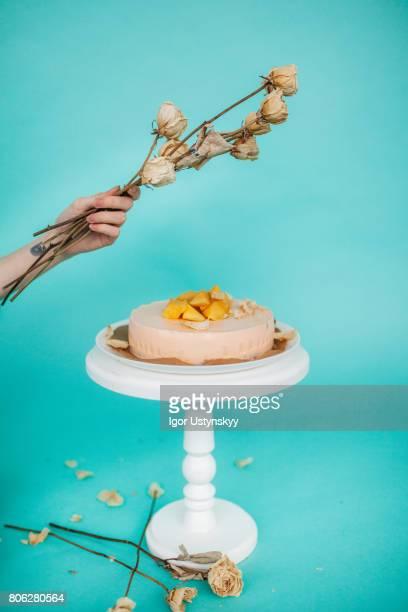 Cake on the blue background