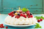 Cake 'Pavlova' with summer berries.