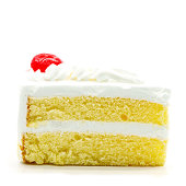 Slice of delicious cake isolated on white