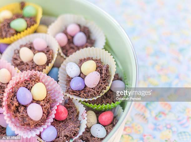 Cake tin full of chocolate Easter nest cakes