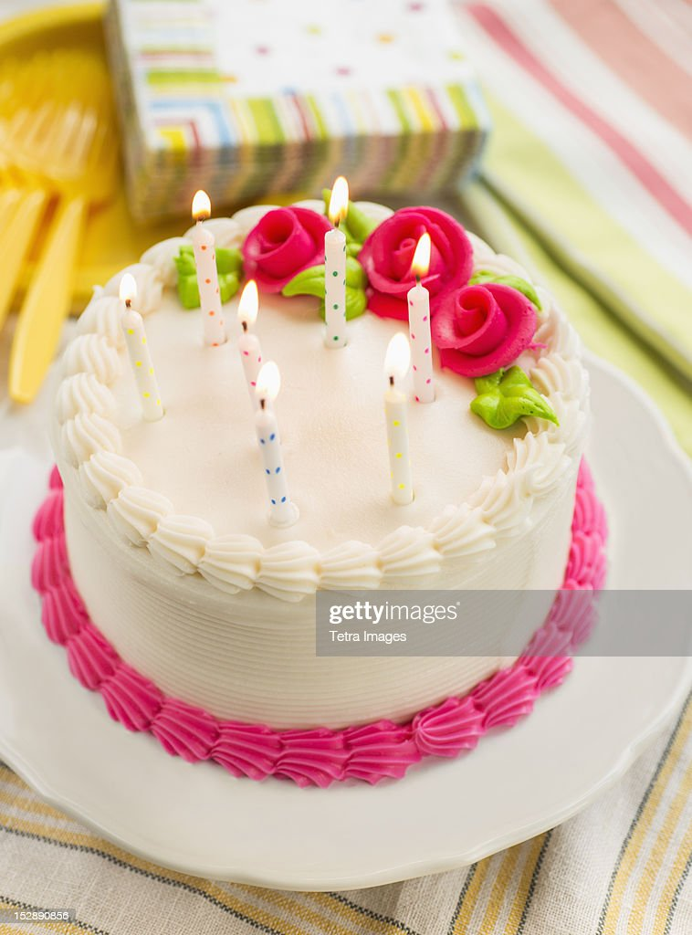 Cake with candles : Stock Photo
