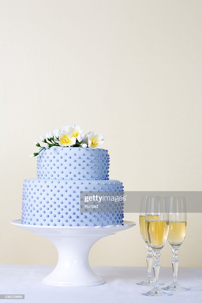 cake with champagne : Stock Photo