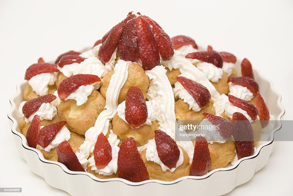 cake with strawberries : Stock Photo