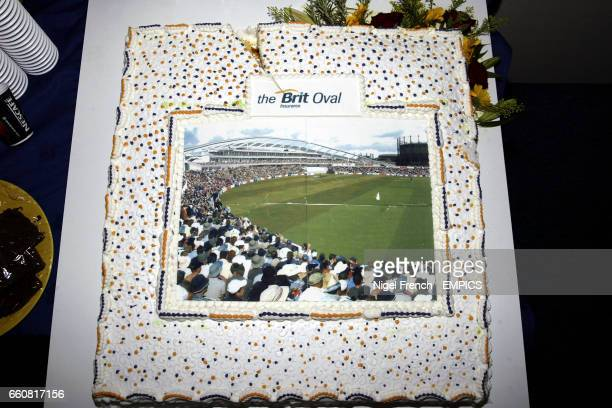 A cake with the design of the new Brit Oval on it