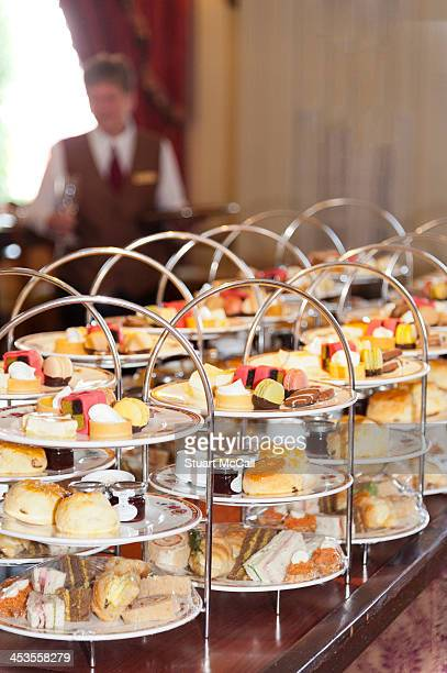 Cakes and pastries at elegant hotel