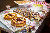 Cakes and pastries on buffet table
