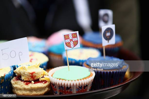 Cakes and scones are sold prior to the BNY Mellon 159th Oxford versus Cambridge University Boat Race on The River Thames on March 31 2013 in London...