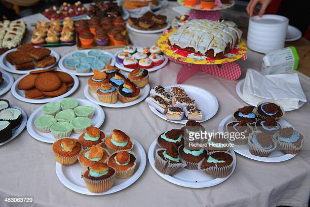 Cakes are served with the Cambridge and Oxford blue colours during the BNY Mellon 160th Oxford versus Cambridge University Boat Race on The River...