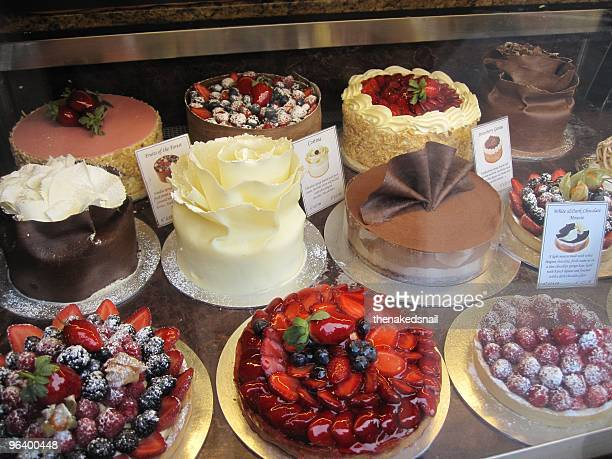 Cakes in a shop window