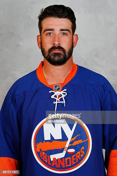 Cal Clutterbuck of the New York Islanders poses for his official headshot for the 20152016 season on September 17 2015 at the Nassau Coliseum in...