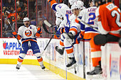 Cal Clutterbuck of the New York Islanders reacts after scoring a goal against the Philadelphia Flyers in the second period at Wells Fargo Center on...