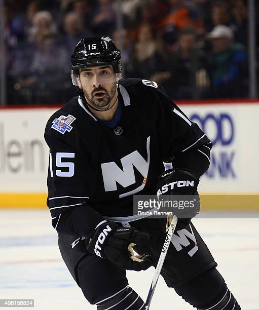 Cal Clutterbuck of the New York Islanders skates against the Montreal Canadiens at the Barclays Center on November 20 2015 in the Brooklyn borough of...