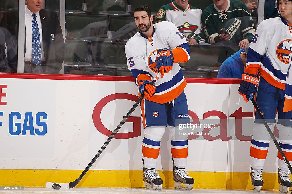 Cal Clutterbuck #15 of the New York Islanders warms up prior to playing against his former team the Minnesota Wild on December 29, 2013 at the Xcel Energy Center in St. Paul, Minnesota.