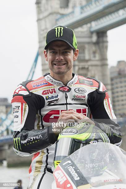 Cal Crutchlow of Great Britain and CMW LCR Honda team poses on the bike during the preevent 'MotoGP stars gearup for Octo British GP with London...