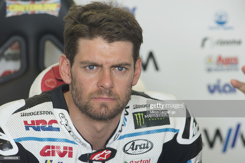<a gi-track='captionPersonalityLinkClicked' href=/galleries/search?phrase=Cal+Crutchlow&family=editorial&specificpeople=4261131 ng-click='$event.stopPropagation()'>Cal Crutchlow</a> of Great Britain and CWM LCR Honda looks on in box during the MotoGp of Czech Republic - Free Practice at Brno Circuit on August 14, 2015 in Brno, Czech Republic.