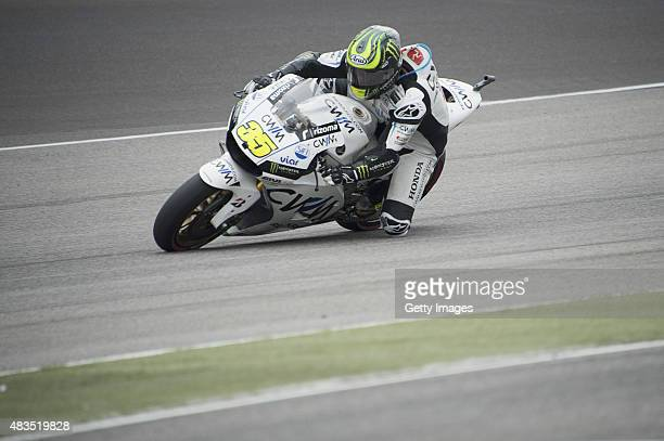 Cal Crutchlow of Great Britain and CWM LCR Honda rounds the bend during the MotoGP race during the MotoGp Red Bull US Indianapolis Grand Prix Race at...