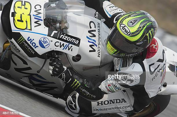 Cal Crutchlow of Great Britain and CWM LCR Honda rounds the bend during the MotoGp of Czech Republic Qualifying at Brno Circuit on August 15 2015 in...