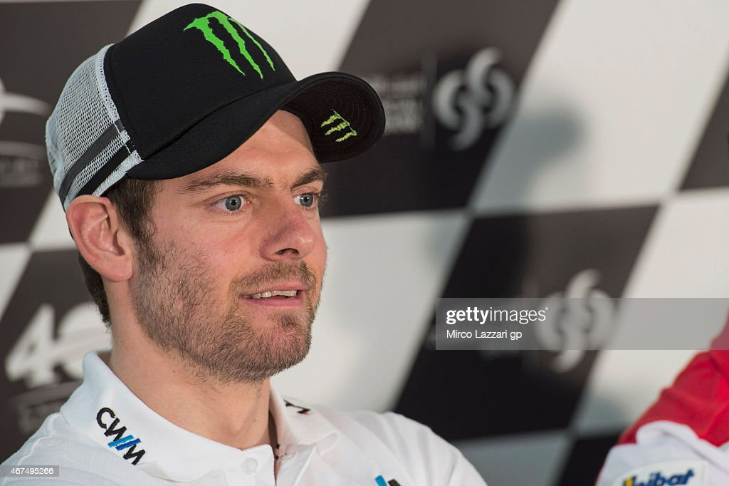 <a gi-track='captionPersonalityLinkClicked' href=/galleries/search?phrase=Cal+Crutchlow&family=editorial&specificpeople=4261131 ng-click='$event.stopPropagation()'>Cal Crutchlow</a> of Great Britain and CWM LCR Honda smiles during the press conference pre-event during the MotoGp of Qatar - Press Conference at Losail Circuit on March 25, 2015 in Doha, Qatar.