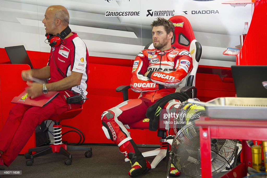 Cal Crutchlow of Great Britain and Ducati team looks on in box during the MotoGp Tests In Montmelo at Circuit de Catalunya on June 16, 2014 in Montmelo, Spain.