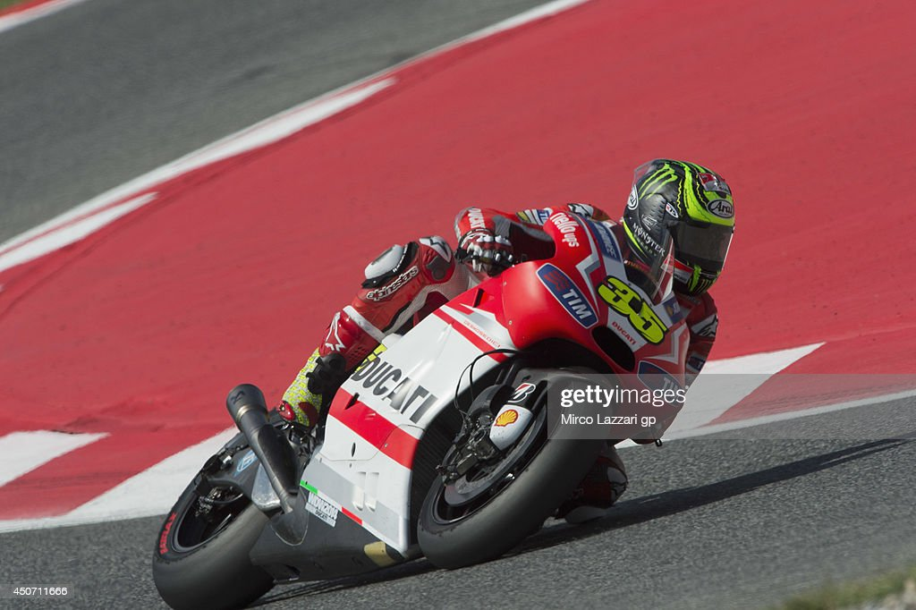 Cal Crutchlow of Great Britain and Ducati team rounds the bend during the MotoGp Tests In Montmelo at Circuit de Catalunya on June 16, 2014 in Montmelo, Spain.