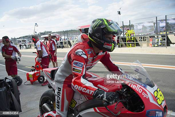 Cal Crutchlow of Great Britain and Ducati Team starts from box during the qualifying practice during the MotoGP of Valencia Qualifying at Ricardo...