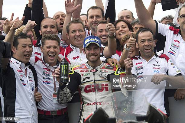 Cal Crutchlow of Great Britain and LCR Honda celebrates the victory with team at the end of the MotoGP race during the MotoGp of Czech Republic Race...