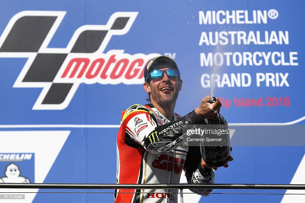 Cal Crutchlow of Great Britain and LCR Honda celebrates winning the 2016 MotoGP of Australia at Phillip Island Grand Prix Circuit on October 23, 2016 in Phillip Island, Australia.
