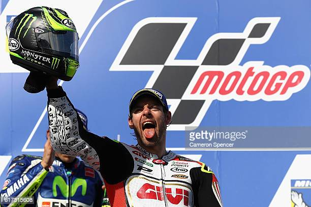 Cal Crutchlow of Great Britain and LCR Honda celebrates winning the 2016 MotoGP of Australia at Phillip Island Grand Prix Circuit on October 23 2016...
