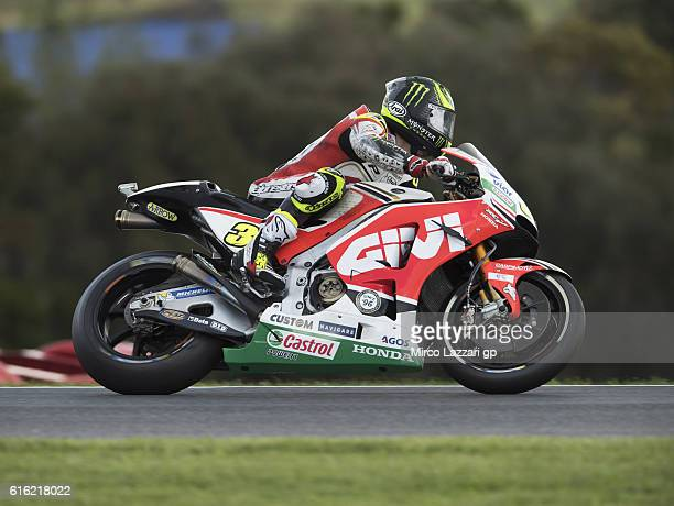 Cal Crutchlow of Great Britain and LCR Honda heads down a straight during the qualifying practice during qualifying for the 2016 MotoGP of Australia...