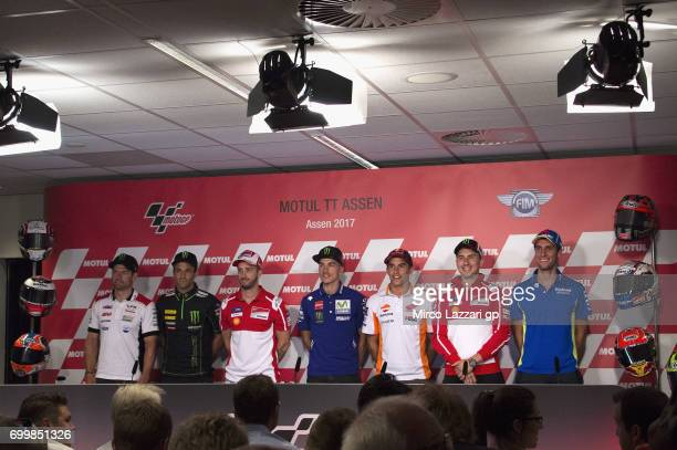 Cal Crutchlow of Great Britain and LCR Honda Johann Zarco of France and Monster Yamaha Tech 3 Andrea Dovizioso of Italy and Ducati Team Maverick...