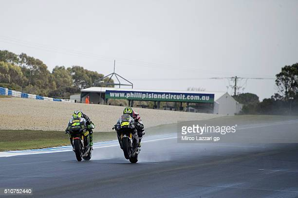 Cal Crutchlow of Great Britain and LCR Honda leads Pol Espargaro of Spain and Monster Yamaha Tech 3 during the 2016 MotoGP Test Day at Phillip Island...