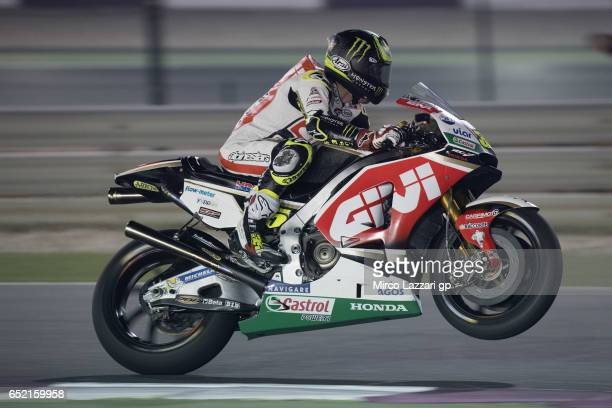 Cal Crutchlow of Great Britain and LCR Honda lifts the front wheel during the MotoGP Tests In Losail at Losail Circuit on March 11 2017 in Doha Qatar
