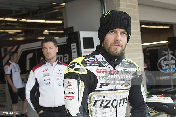 Cal Crutchlow of Great Britain and LCR Honda looks on during the riders parade before the MotoGP race during the MotoGp Red Bull US Grand Prix of The...
