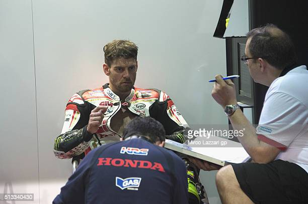Cal Crutchlow of Great Britain and LCR Honda looks on in box during the MotoGP Tests In Doha at Losail Circuit on March 2 2016 in Doha Qatar