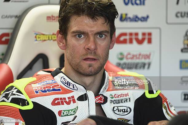 Cal Crutchlow of Great Britain and LCR Honda looks on in box during the MotoGp of Spain Qualifying at Circuito de Jerez on April 23 2016 in Jerez de...